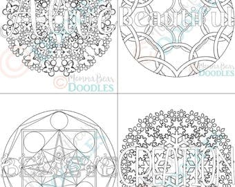 set of 4 inspirational coloring pages faith words mandalas alive beautiful believe - Inspirational Word Coloring Pages