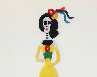 La Colorina- Embroidered Day of the Dead Catrina wall decor