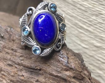 Vintage FAB BoHo LAPIS and Topaz Ring