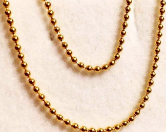 """14k solid yellow gold(1mm)fancy Italian bead chain up to 24""""inch"""
