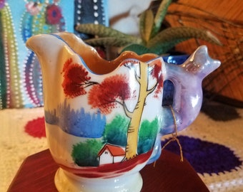 Vintage Hand Painted Creamer/Pitcher with Cat Handle Gold Castle Chikusa Lustreware