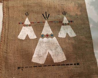Native American Teepee Stenciled Burlap Gift Bag Wall Hanging