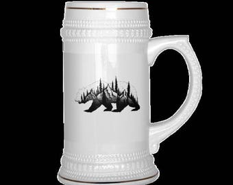 Unique Beer Steins, Bear, Whale or Mountains. Gold Trim.