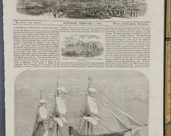 Himalaya Troop Ship, with Armstrong Batteries for China. Large Antique Engraving. Sailboat. Heandon Union Schools. Large Antique Engraving