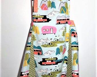 Women's Apron, Retro Style Apron, Reversible Apron, Camper/ RV Fabric Apron