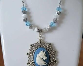 Unicorn blue and silver pendant goth victorian kawaii