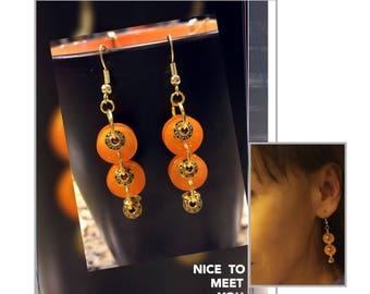 Christmas orange gold earrings