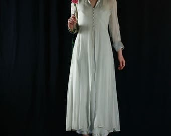 Ivory silk dress with transparent collared overdress