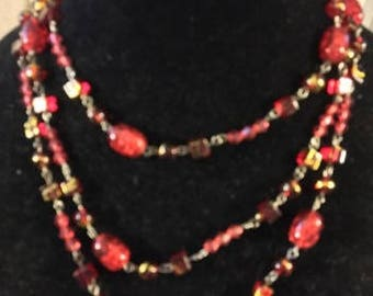 Vintage Long Opera Length Necklace in Red