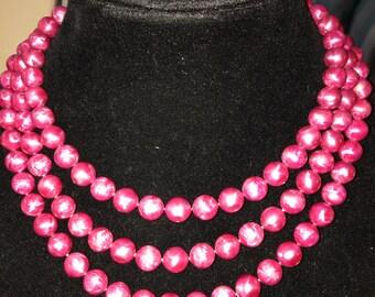 Vintage Fusha Pearl Multi Strand Necklace