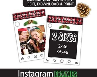 christmas instagram frame, buffalo check instagram photo booth prop, christmas photobooth props, fun party ideas