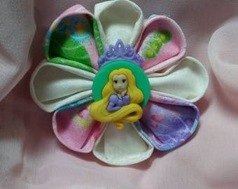 Princes Rapunzel round hair barrette. White, pink, purple and teal.