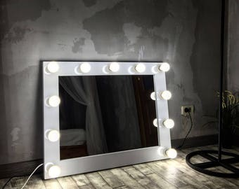 Lighted mirror etsy glamor mirror with lights vanity hollywood mirror with lights hollywood mirror makeup mirror aloadofball Choice Image
