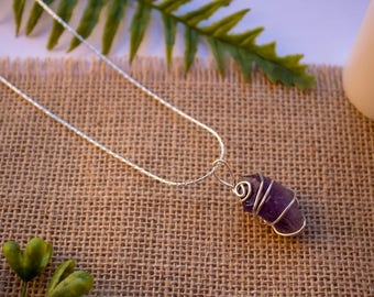 Amethyst | Silver Wire Wrapped Necklace