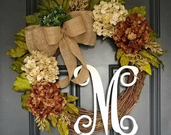 Cream - Brown Hydrangea Wreath,Hydrangea Wreath,Year Round Wreath,Front Door Wreath,Summer Wreath,Door Wreath,Grapevine Wreath,Farmhouse