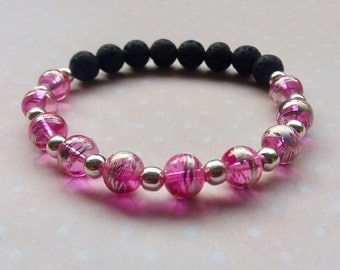 Essential Oil Diffuser Bracelet, Lava Stone and Pink Drawbench Drizzle Glass Stretch Bracelet