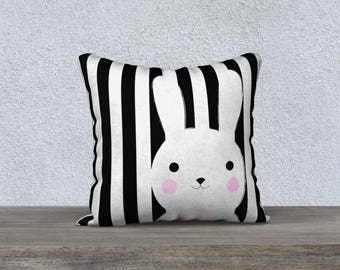 "Decorative cushion for child ""Bunny"" black and white pillow case pillow-baby-child-decor-animal nursery gift"