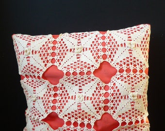 Crochet cushion - french vintage crochet cushion