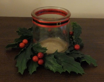 Holly Berry Christmas votive candle holder, Christmas decorations, holiday decorations, glass candle holder, rustic Christmas decorations