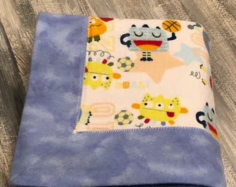 Little monster flannel baby blanket