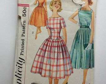 Simplicity 2477 Sewing Pattern, 1958 Teen Size 12 Dress, Vintage