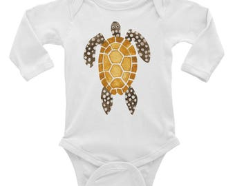 Sea turtle Infant Long Sleeve Bodysuit, ocean creature theme,beach party baby outfit, babyshower gift, unisex infant tee, watercolor design
