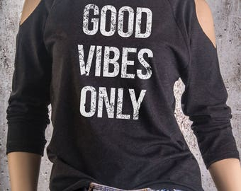 Buy 2, Get 1 FREE Tshirt Good Vibes Only Cold Shoulder Shirt in Charcoal Triblend