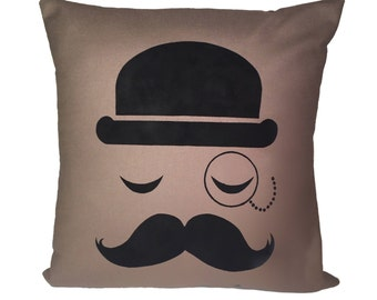 Gentleman Pillow, Mustache Handpainted Pillow Cover, Decorative Throw Pillow