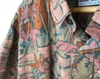 Vintage Patterned Party Shirt - Size 44