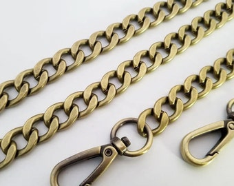 bronze chain strap purse strap bag handbag strap handles Crossbody chain links Replacement Chain Strap finished chain width 12 mm 1pcs