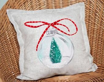 Pillow Cover Christmas Pillow Pastel Blush Ornaments Christmas Cushion Xmas Wreath Cover Family Christmas Decoration