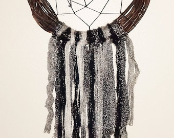 8 inch WREATH dream catcher with heart key charms!!