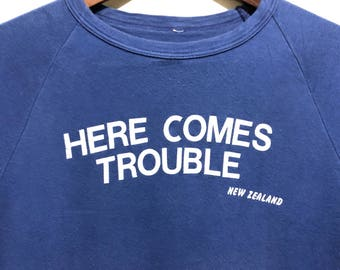 Vintage Here Come Trouble T-Shirt / Retro New Zealand T Shirt