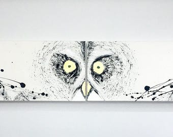 An owl is created through a special abstract technique. A unique painting consisting of two parts!