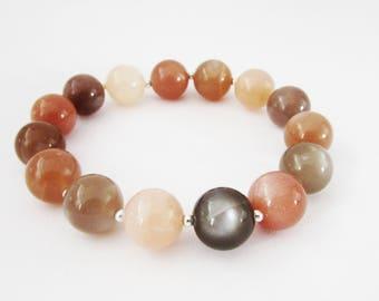 Chunky Moonstone Gemstone Bracelet, Stretch Moonstone Gemstone Bracelet for Women, Gemstone Stretch Bracelet, Peach Moonstone Bracelet