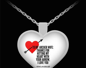 To My ARCHER WIFE! Heart Pendant Shape, Premium Silver Plated Necklace.