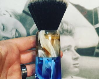 Blue/White/Clear and Brown/White/Clear Shaving Brush