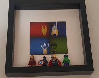 Marvel Avengers Minifigures Frame - Super Heroes, Iron Man, Captain America, Thor, Hulk - Comics- Birthday, Christmas Gift Idea
