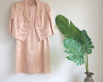 Vintage Handmade Blush Pink Suit / Pink Shift Dress with Matching Double Breasted Jacket