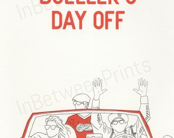 Ferris Bueller's Day Off Limited edition 80s screen printed poster A4 onto thick paper
