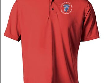 35th Signal Brigade (Airborne) Embroidered Moisture Wick Polo Shirt -7984