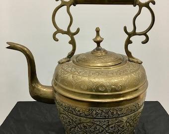 Extra Large Ornate Brass Tea Kettle Gooseneck Intricate Design