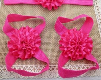 3pc headband barefoot sandals hot pink