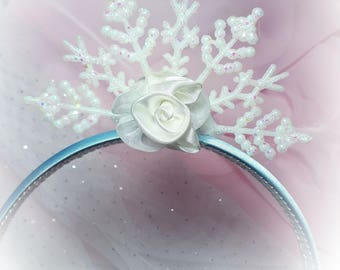 Small Snowflake Satin Headband Tiara. Winter wedding. Flower Crown, Snow Queen, Elsa Frozen Cosplay, White, Glitter.