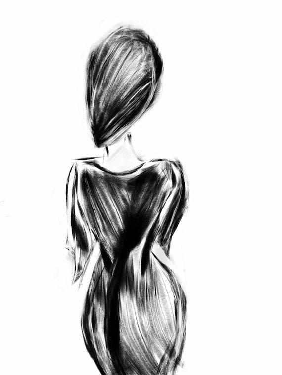 Little Black Dress   - woman  - Minimalist Fine Art Print. Set of 3 prints