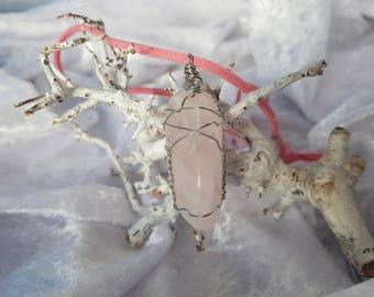 necklace wire wrapped rose quartz