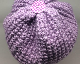 Slouchy Hat, Knit Hat with button, Slouchy Winter Hat in Lilac, Winter Hat