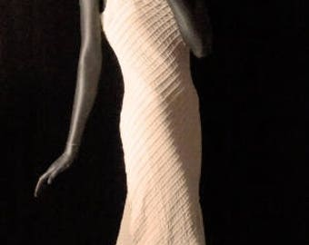 1930s Style Cream Textured Shirred Chiffon Bias Cut Evening Dress Sz 6 #1429