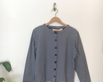 Vintage | Navy and White Striped Shirt