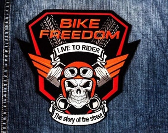 LARGE SIZE Bike Freedom Live To Rider Motorcycle MC Club Biker Vest Patchh